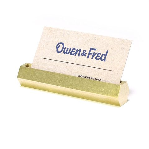 Hex Brass Business Card Holder | Gifts for Men - Made in the USA | Owen & Fred