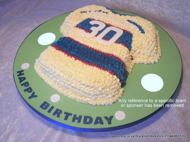 QPR Buttercream Cake http://www.cakescrazy.co.uk/details/qpr-football-shirt-2.html