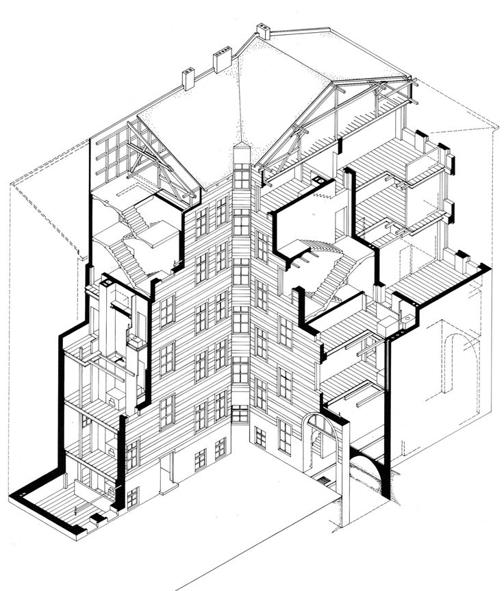 Betonbabe heiko r ssger systematic axonometric section for Paper for architectural drawings