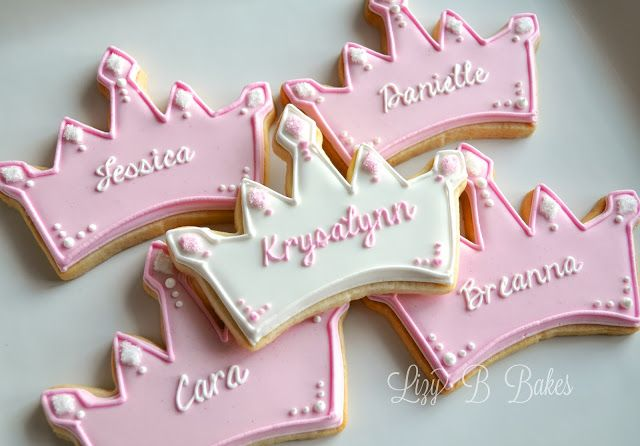 Personalized princess crown cookies
