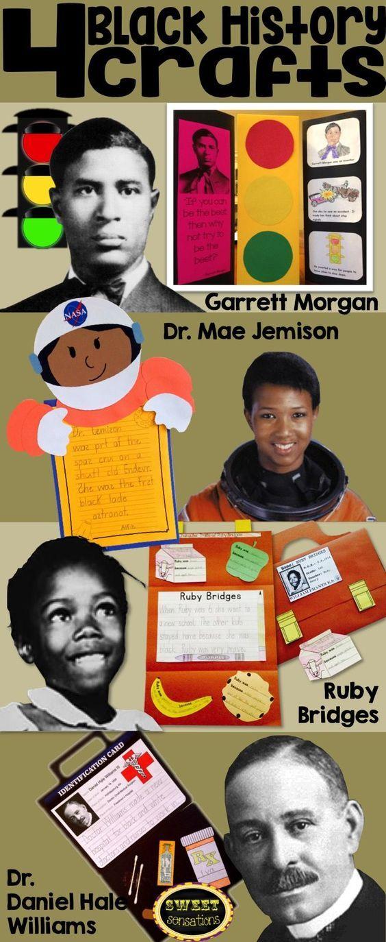 4 craft activities for black history month: Garrett Morgan stoplight; Dr. Mae Jemison astronaut craft; Ruby Bridges character traits school satchel and Dr. Daniel Hale Williams medical bag.