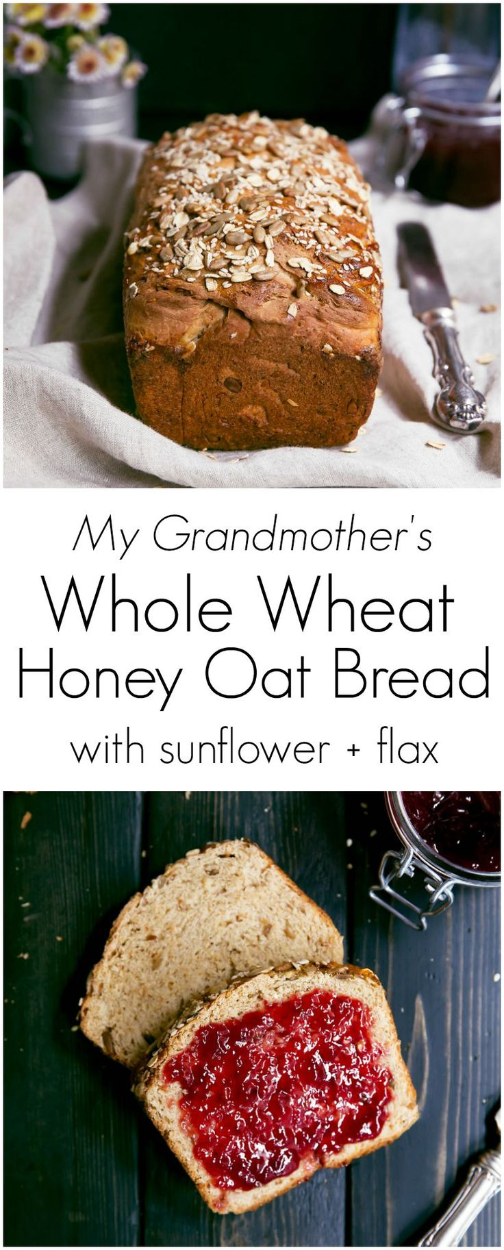 My Grandmother's homemade Honey Oat Bread made with whole wheat flour, sunflower seeds, honey, oats and flax. Nutritious and wonderful toasted for breakfast.: