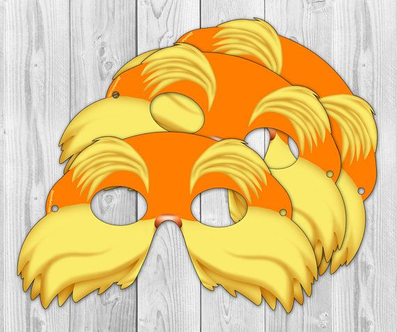 Lorax  Inspired Printable Party Mask Instant Download by Shnookers, $4.00