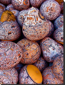 Decorative gourds produced en masse for tourists in Pisac, Peru