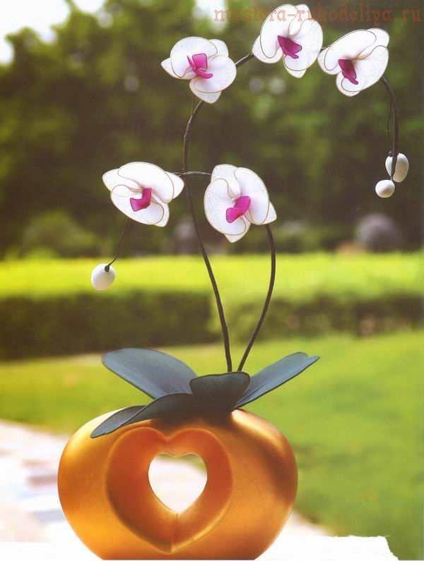 Мастер-класс по созданию цветов из капрона: Веточка орхидеи Фаленопсис