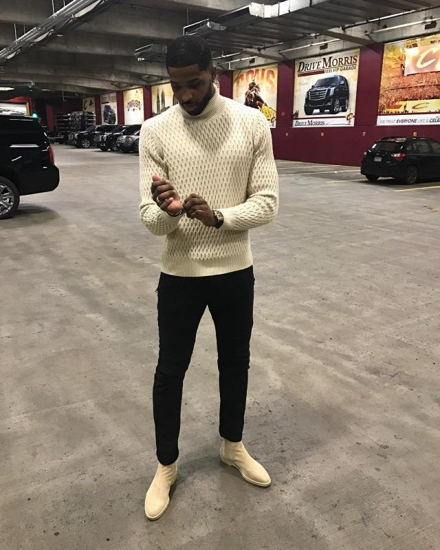 Tristan Thompson Wears NN07 Sweater, Balmain Jeans and Common Projects Boots After Cavaliers vs Pistons | UpscaleHype