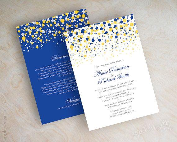 Blue and yellow, gold, polka dot wedding invitation, modern, dots wedding invitations, polka dot wedding invitations, polka dots, Glitter. www.appleberryink.com Starting at $47.00