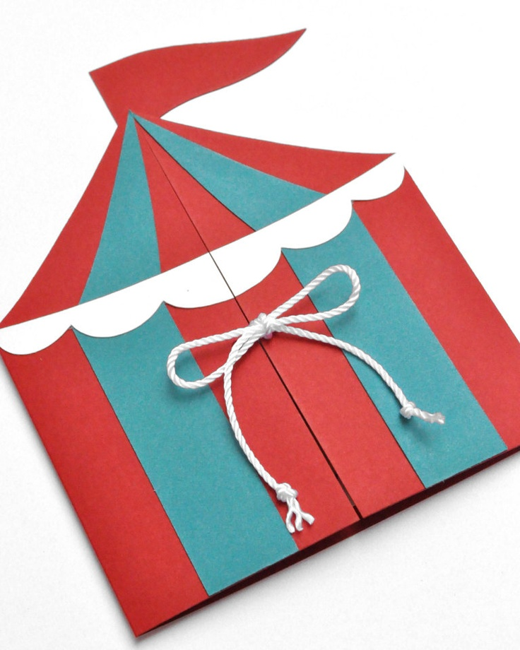 Circus Tent Handmade Birthday Party Invitation.