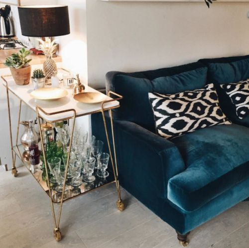 Blue Velvet Sofa, bar cart - LA COOL & CHIC