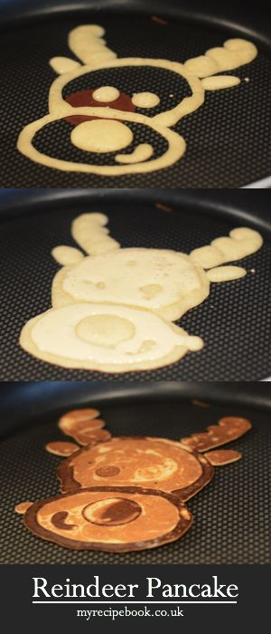 Reindeer Pancake Art. If I tried this it would never look this cute, but it's worth a shot!