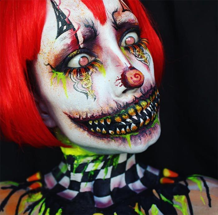 Creative Halloween Makeup Ideas: Candy Corn Clown Halloween Makeup