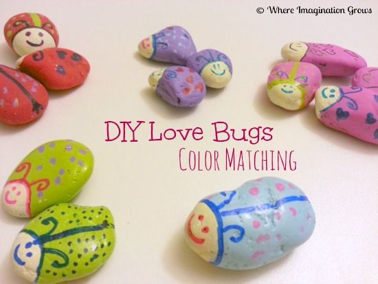 Color sorting and counting practice with DIY Love Bugs from Where Imagination Grows