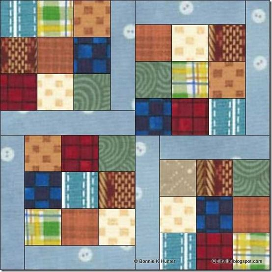 "Dancing Nines Block Tutorial ~ these 9 patches were made with 2"" squares cut from recycled plaids, stripes and prints and sewn together with no attention paid to what was light or dark, just sewn randomly. GREAT block pattern!"
