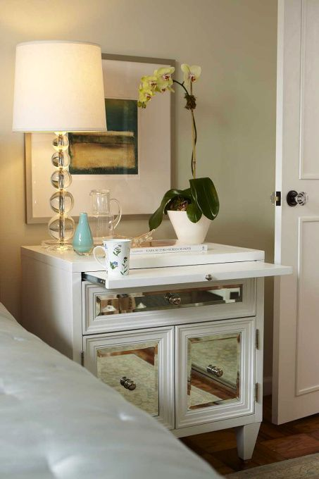 Bedrooms   Benjamin Moore   Silken Pine   Z Gallerie Concerto Nightstand  Pottery Barn Stacked Crystal Lamp Pottery Barn Essential Quilt Green Walls  Orchid ...