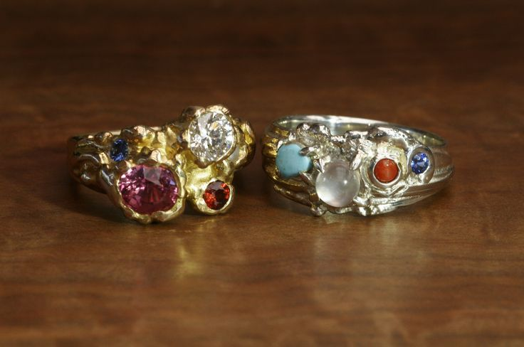 Two stunning fused rings made by Master Jeweller John Miller. Each features beautiful gemstones. Sterling silver & 18k Gold. Made in Yallingup Western Australia