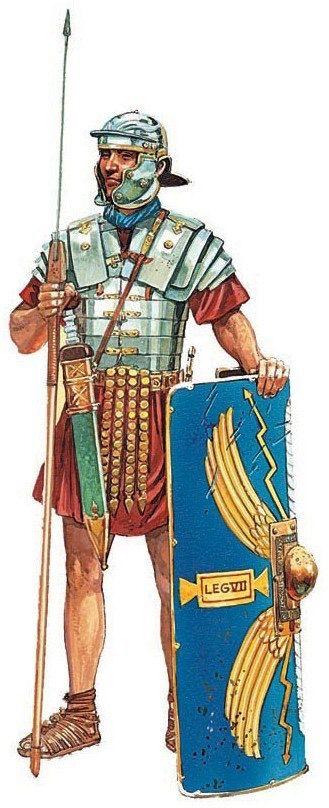 Римский легионер. Середина I в. н.э. Художник Питер Деннис