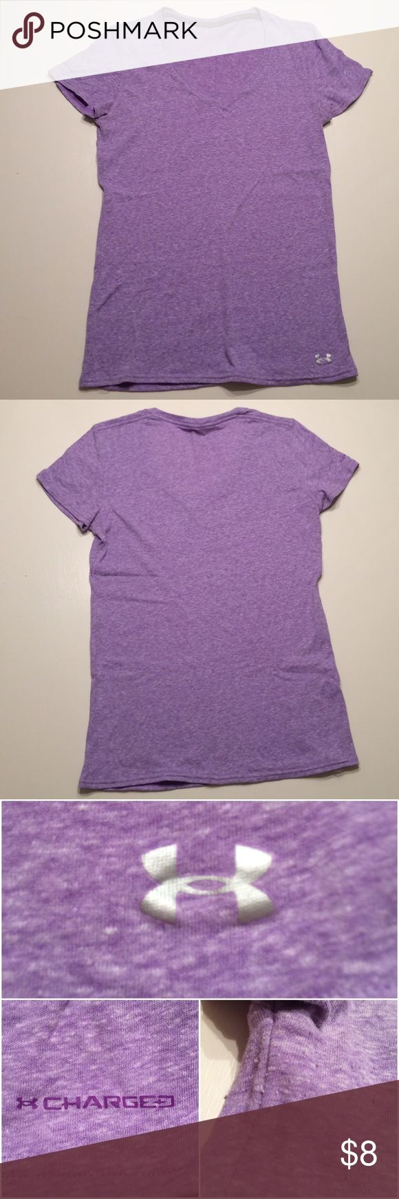 """Heathered purple under armour tee Medium under armour heathered light purple tee. Fits tight for a medium unless you like your shirts fitted, would recommend for someone who is a true small or a small medium. Only imperfection is some light pilling around under arms, easily fixed. Tag was removed due to being itchy, likely 💯% cotton or a blend. 17"""" armpit to armpit, 17"""" armpit to bottom. Great work out or causal tee Under Armour Tops Tees - Short Sleeve"""