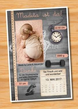 Ausgefallene Dankeskarten Baby Geburt 225 - Bild vergrößern