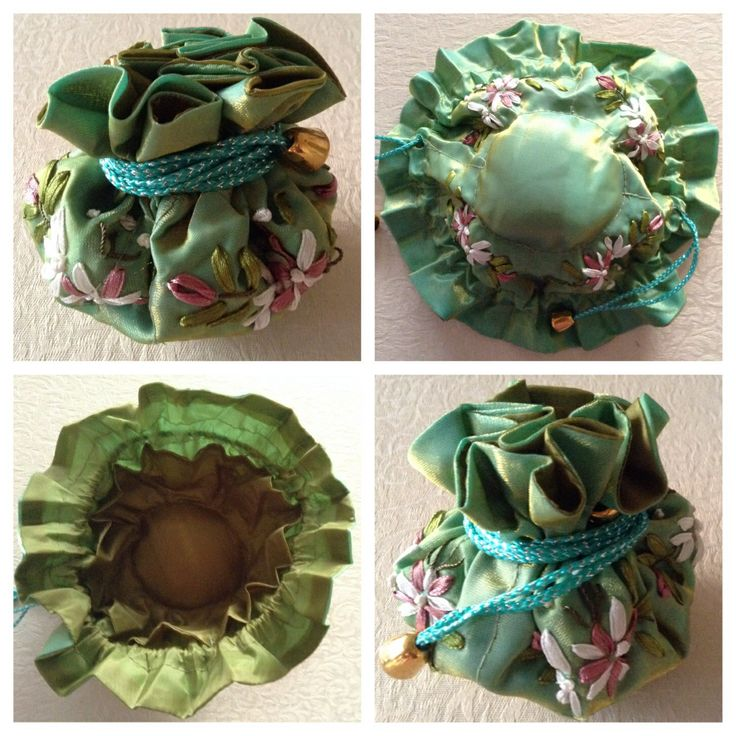 Ribbon-embroidered jewellery pull string pouch - VINTAGE GREEN. Has 8 internal side pockets for fine necklaces or chains, earrings & rings. The central compartment is for bangles, bracelets & larger pendant necklaces @ AUD$10.00 + postage or local pick up available.