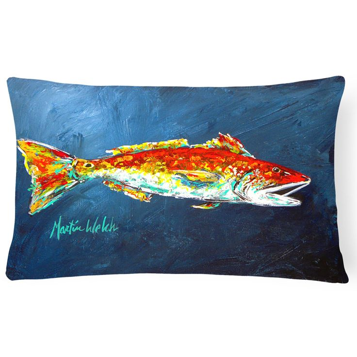 Caroline's Treasures Red Fish Red for Jarett Decorative Outdoor Pillow - MW1093PW1216