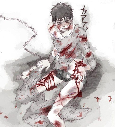 a boy wo turned into a dead boy (undead) and has to live with chains on his hands and foots.
