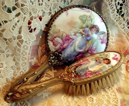 Child Doll Size Ormolu Porcelain Fairy Fairie Portrait and Mirror Brush Set | eBay