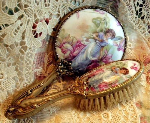 Child Doll Size Ormolu Porcelain Fairy Fairie Portrait and Mirror Brush Set | eBay