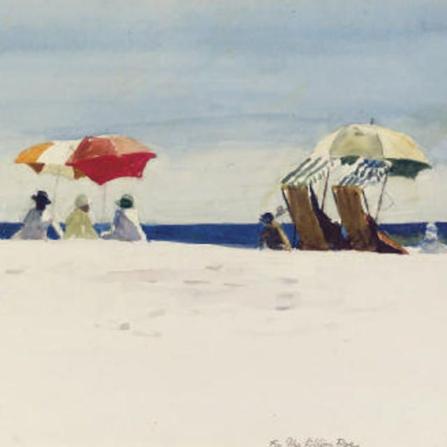 "Edward Hopper (1882-1976) - ""Gloucester Beach, Bass Rocks"" (detail), 1924 - Watercolor and pencil on paper"