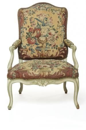 Fauteuil à la reine, c. 1740; France; beech, carved and painted pale green, tapestry seat. Les Arts Décoratifs (3834 A)