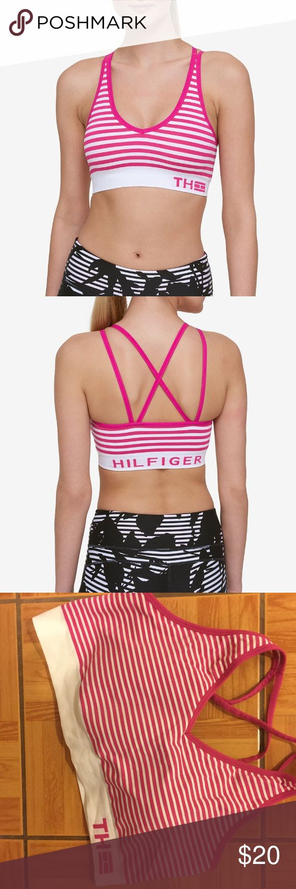 """NWOT Tommy Hilfiger Sport Striped Sports Bra •V-neckline, pull over style •""""TH"""" logo at front; """"HILFIGER"""" printed on back •strappy detailing at back •Polyester/ Nylon/ spandex  Tried on once! Too small for me.   🌻NO TRADES 🌻OFFERS WELCOMED! 🌻BUNDLE TO SAVE  🌻FEEL FREE TO ASK ANY QUESTIONS Tommy Hilfiger Intimates & Sleepwear Bras"""
