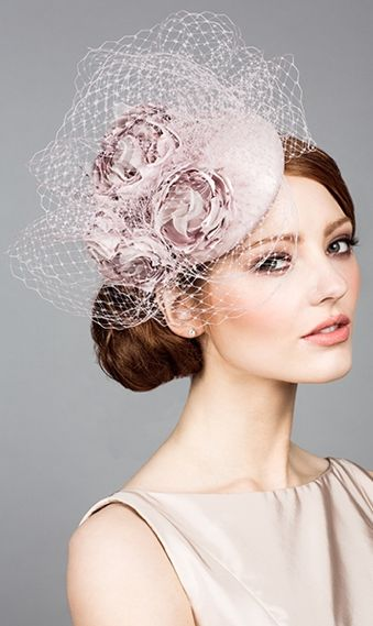 Rachel Trevor Morgan, S/S 2014. Silk taffeta pillbox with hand made flowers and veiling. #passion4hats