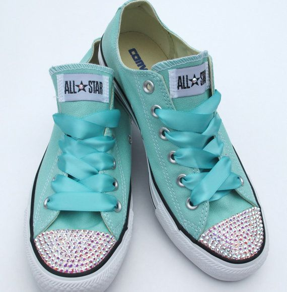 Tiffany blue bling Converse low-top shoes covered in Swarovski crystals on Etsy, $90.00