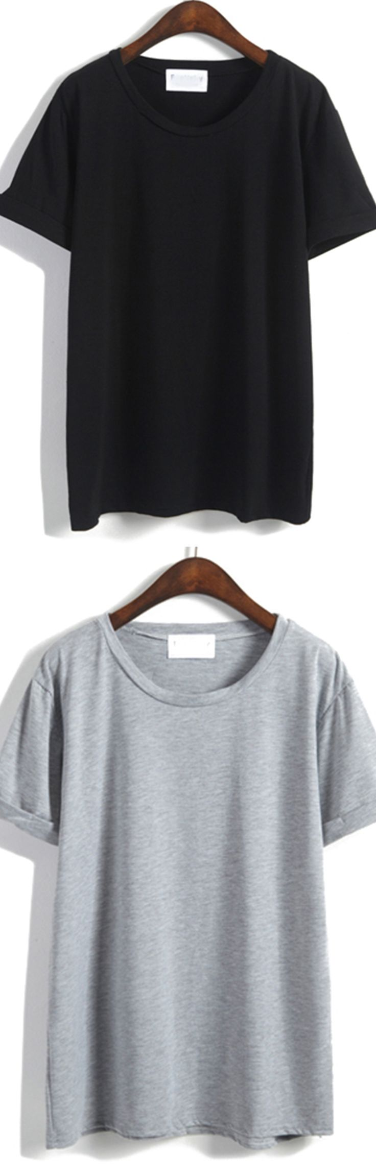 Cuffed Loose Black T-shirt at romwe.com.There colors here for you.Click&sign up for yp to 60% off!