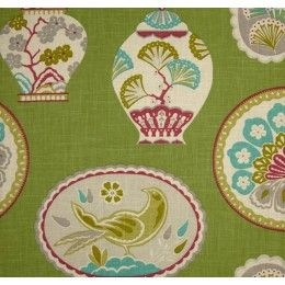 Imperial Treasure Ginger Jars in Green Home Decor Linen Fabric - SALE