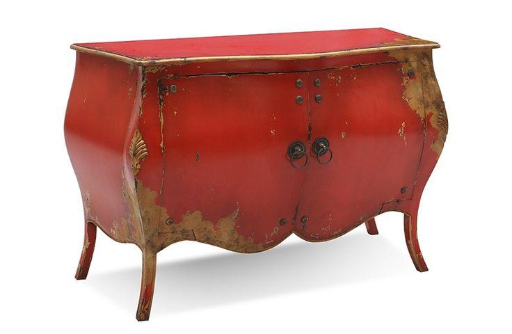 #Kommode #Rococo - Mahagoni #massiv - rot lackiert - antikfinish