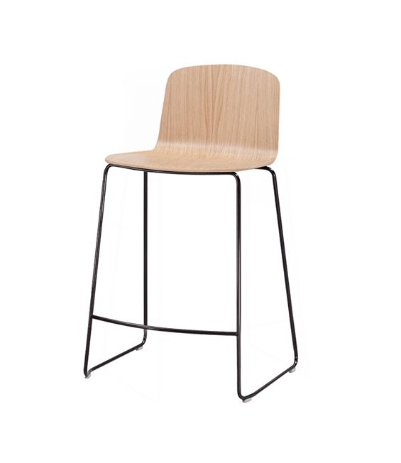 Ann 4.1 | Sandler Seating. Wood barstool/counter stool on a steel sled base. Suitable for stacking.