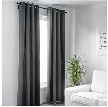 Brand New 1 Pair 2 Pcs Ikea Merete Grey Eyelet Curtain