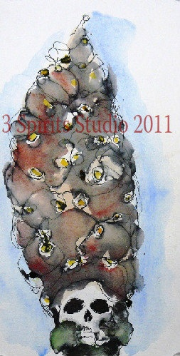 Original Drawing with Watercolor It's All In by 3spiritsstudio, $85.00