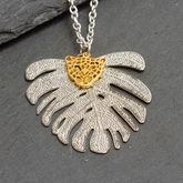 Tropical Leaf And Tiger Pendant Necklace tropical trend 2017
