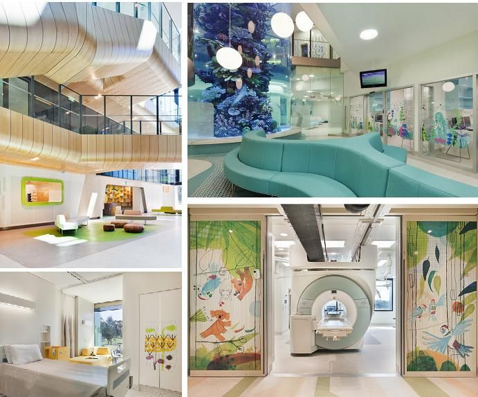 Royal Children's Hospital, Melbourne, Australia. Innovative and evidence-based design principles to reflect changing healthcare practices, workplace patterns, user expectations, community aspirations and environmental responsibility. Enriching and restorative environment for children, staff and public. De-institutionalizes the hospital genre. Utilises therapeutic benefits of nature in the healing process.