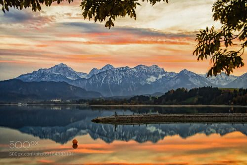 Evening at lake Forggensee by Gerald_H  lake sunset mountains evening afterglow sunset glow See Berge Abendrot Evening at lake Forggensee Ge