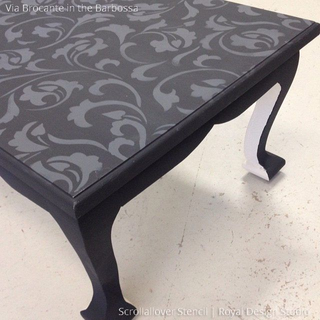 Black Coffee Table Upcycle Painted with DIY Scrollallover Furniture Stencils - Royal Design Studio