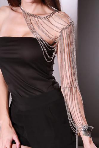 Silver Arm Chain Draped Body Jewelry