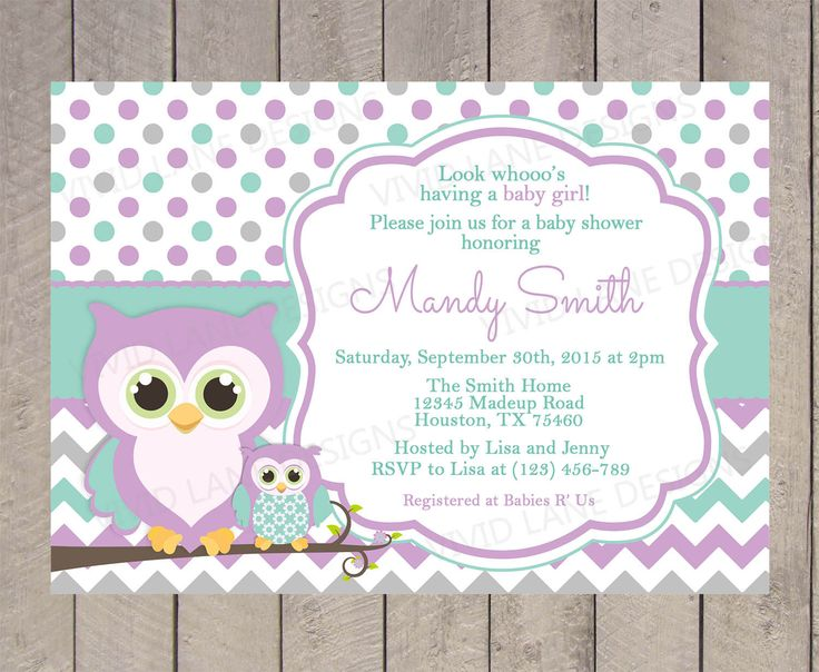Owls Baby Shower Invitation   Purple, Teal And Grey, Chevron, Polka Dots,  Mom And Baby Owl, Girl Baby Shower Invite   224