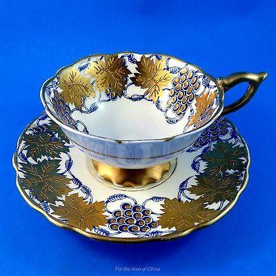 "Blue Royal Stafford ""La Vigne D'Or"" Royal Stafford Tea Cup and Saucer Set"