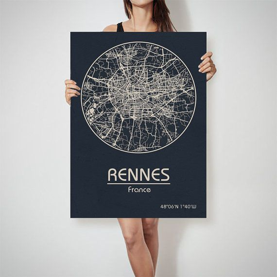 RENNES France map City Street Map Art Print Poster by ArchTravel