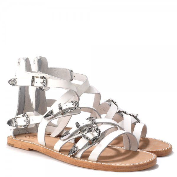 Gladiator Sandals, White Leather, Ash, Mindful Gray