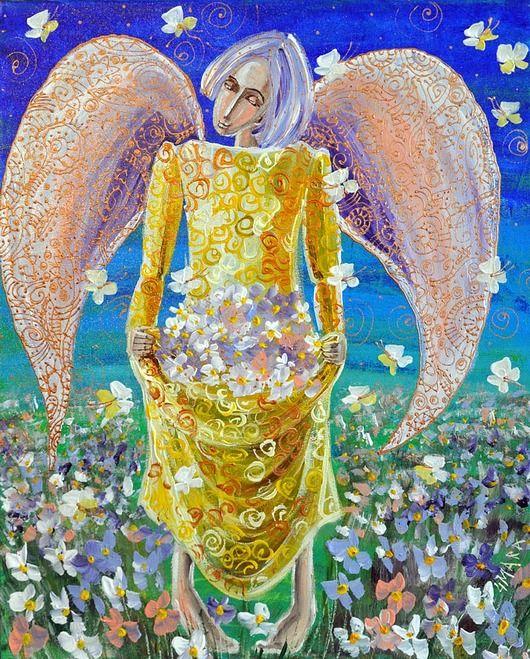 Anioł z kwiatem