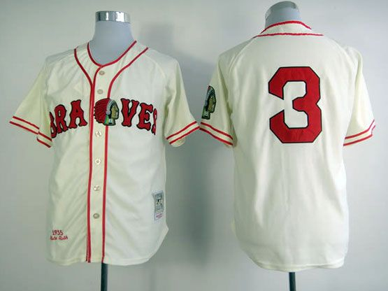MLB ATLANTA BRAVES #3 MURPHY CREAM Throwbacks JERSEY FJ