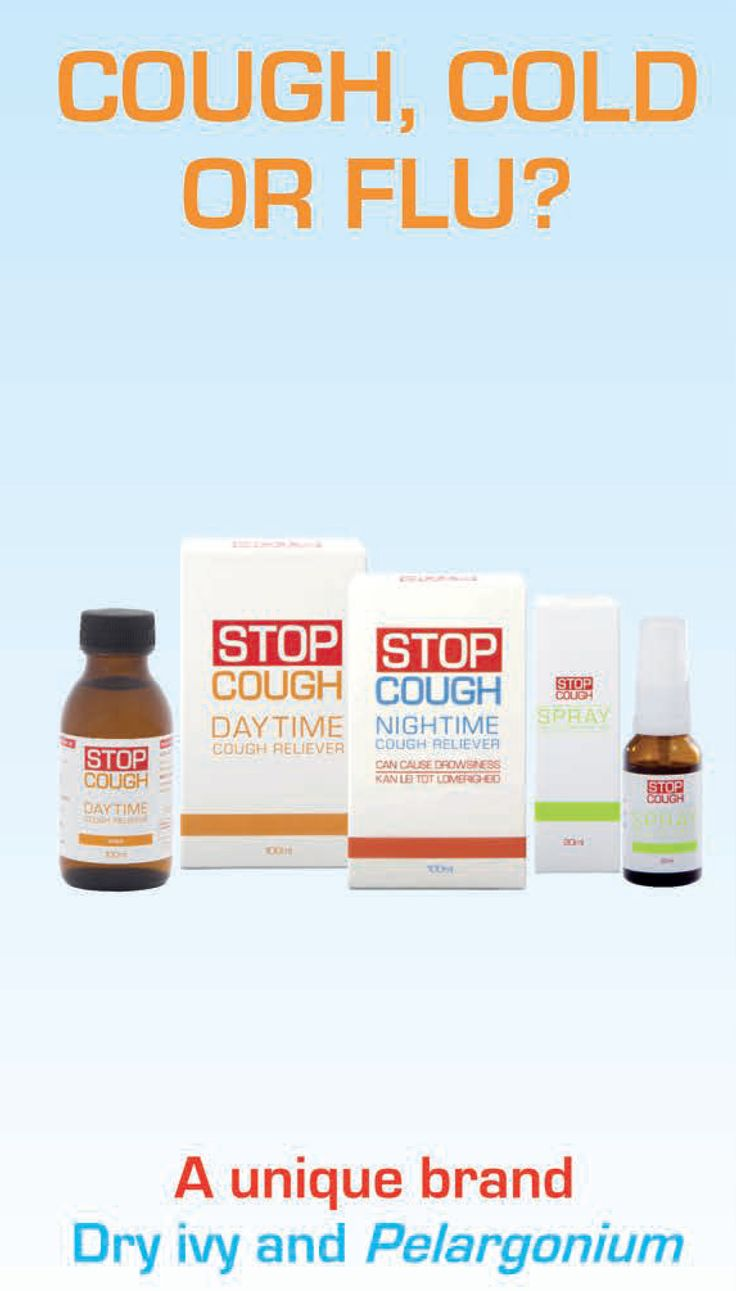 Stop Cough  Stop Cough combines dry ivy extract and Pelargonium sidoides to soothe your cough and fight infection. The range is sugar-free, alcohol-free and an all-natural alternative to antibiotics.